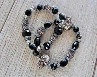 Boho Jewelry, Boho Bracelet, Gemstone Bracelet, Stretch Bracelet, Skull Bracelet, Handmade, Women's, Beaded Bracelet