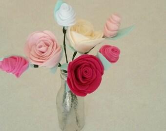 Roses and Rose Buds Felt Blooms on Stems Floral Arrangement