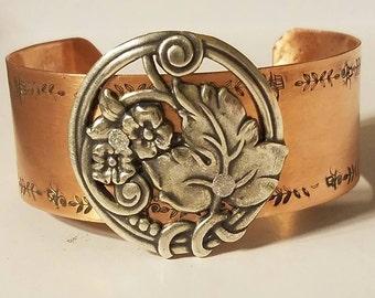 Silver Leaf Cuff Bracelet