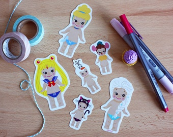 Set 6 stickers Sonny Angel x Disney : Sailor Moon + Cendrillon + Reine des Neiges