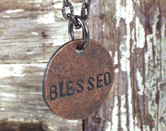 BLESSED Penny Charm Necklaces, Good Luck Penny, Bouquet Charm, Coin Charm Necklace, Inspirational Necklace, Gift Idea for Bride, Graduate