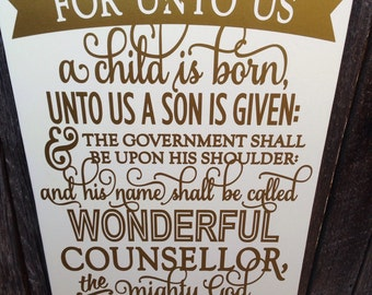 Holiday Sign Christmas Sign Christmas Decor Holiday Decor Isaiah 9 For Unto Us A Child Is Born Scripture Art Holiday Decoration Wall Art