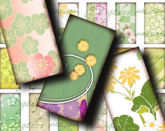 Japanese Design Green (1) Digital Collage Sheet - Dominos 1x2 inch or bamboo size with Stylish Asian spring motifs - See Promo Offer