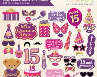 15th Birthday Party Photo Prop, Quinceañeras Party Photo Booth Prop, 15th Birthday Party Printable, Girl Birthday Party Printable