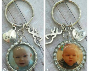 Dad Keychain - Dad Gift - Gift for Dad - Custom Photo Keyring - Personalized Gift - Bottle Cap Keychain - Gift for Him - Custom Dad Gift