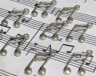 Music Note Charms - 10 pcs - Antique Silver - Tibetan Charms - Wine Charms - Music Charms