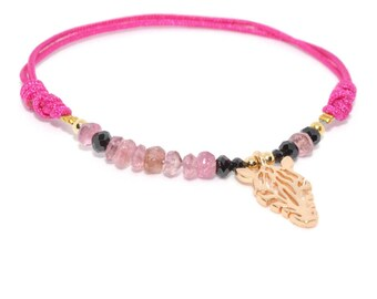 Lucky talisman fetish Zebra Fuchsia link bracelet gold, pink tourmalines and black spinel