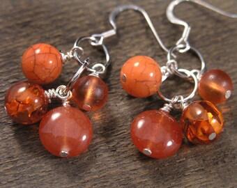 Orange creamsicle earrings, carnelian stone, czech glass, silver handmade earrings