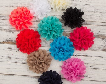Free Shipping Eyelet Fabric Flowers Artificial Fabric Flowers For Girls Fluffy-Headband Flowers Hair Accessories Headbands Supplies 4""