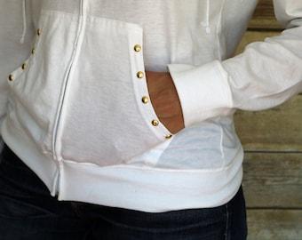 Embellished white zip up hoodie