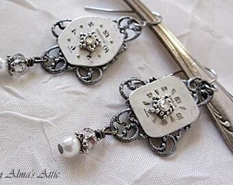 Timepiece Earrings, Watch Face Earrings, Silver Watch Face Dangles, Vintage Watch Face Earrings, Recycled Clock Earrings, Timepiece Drops