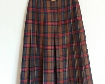 Vintage 80s Tartan Women Wrap With Belt Skirt Size Small/Medium
