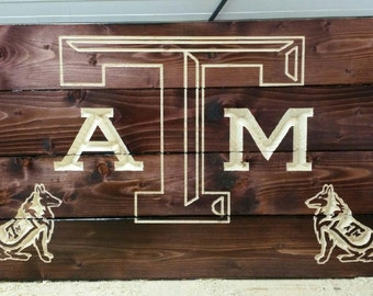 Carved Texas A&M with Reveilles - Graduation gift - Aggie - Aggie decor - Aggie gift - Aggie Alumni