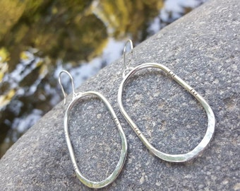 Sterling Silver Dangle Earrings featuring Hammered / Stamped Texture