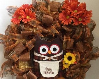 Fall wreath, owl wreath, deco mesh wreath, front door wreath, autumn wreath, fall decoration