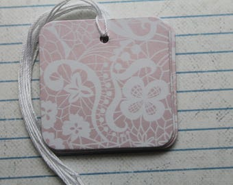 """20 Gift tags pearlescent pink lace paper over chipboard...2"""" x 2"""" pre-strung"""