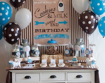 Vintage Milk and Cookies Birthday First Birthday Sweet Sign Poster - Blue or Pink - Printable Customized Poster