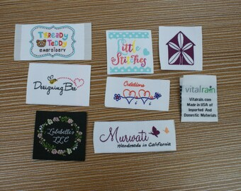 600 Custom Woven Artwork Taffeta Clothing Labels free font styles colors never fade - professional quality free design service and shipping