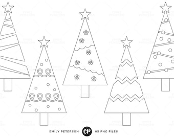 50% OFF SALE! Christmas Tree Digital Stamps, Christmas Line Art, Whimsical Clip Art - Commercial Use, Instant Download