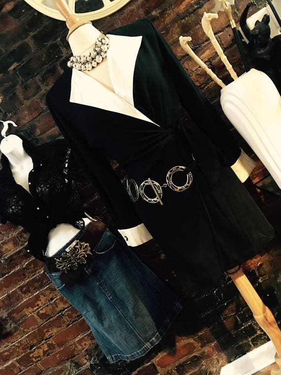 Awesome Boho Western Sivertone Openwork Black Leather Large Round Links Hip Chain Belt so 80's 90's fashion