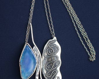 Large Butterfly Jewelry Necklace, Blue Agate Artistic Pendant, Edgy Jewelry, Stylish Necklace, Unique Jewelry, Evening, Magical