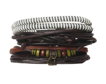 4 Pcs Braided Leather Bracelet for men Cuff Wrap Bangles Wristbands Adjustable No.1