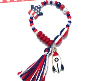 Red, White and Blue Rocket Ship Charm Bracelet - Memorial Day accessory, rocket charm, 4th of july jewelry, patriotic charm bracelet, usa