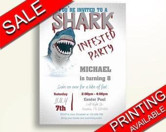 Shark Attack Birthday Invitation Shark Attack Birthday Party Invitation Shark Attack Birthday Party Shark Attack Invitation Boy 5AXCU