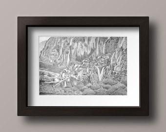 Rivendell Print - Lord of the Rings Print - Rivendell Art - Lord of the Rings Art - Hobbit Art - Hobbit Decor - Lord of the Rings Decor