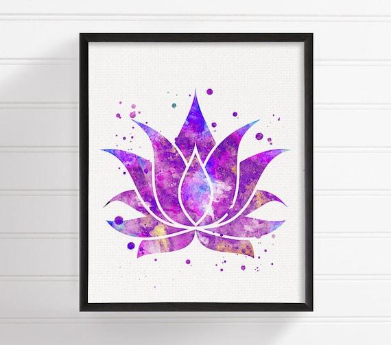 Lotus Art Print Watercolor Lotus Flower Lotus Poster Lotus