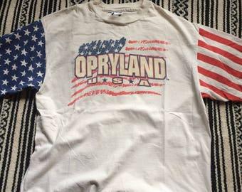 Opryland America USA Flag Tee Nashville Tenessee Vintage 1980s