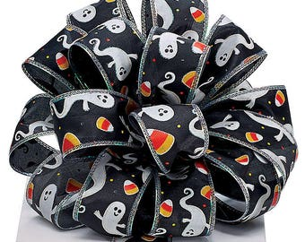"New 4 yards Halloween Ghost Ribbon 1-1/2"", Wired Halloween Ribbon, Halloween Craft Supplies, Candy Corn Ribbon"