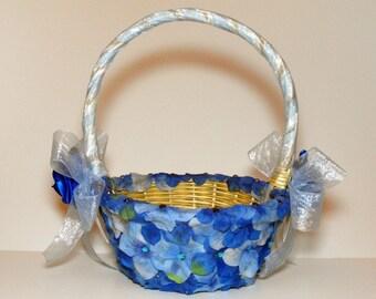 Something Blue Hydrangea Flower Girl Basket