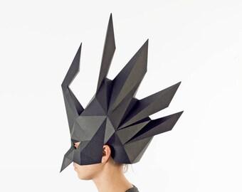 Black mask, DIY KIT, masquerade mask, papercraft 3d, festival clothing, raven mask, bird mask, origami, masks, face mask, costume, low poly