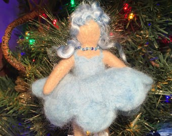Baby blue needle felted fairy doll/hanging decoration