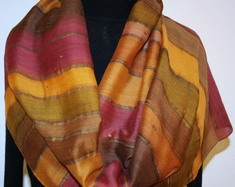 Brown Terracotta Hand Painted Silk Wool Shawl ADOBE STRIPES, Silk Scarves Colorado - Select Your SIZE!  Elegant Silk Gift, Birthday Gift