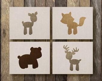 Woodland Animal Art - Instant Download - Woodland Nursery Art -  Printable Forest Animals - Woodland Animal Nursery - Woodland Printables