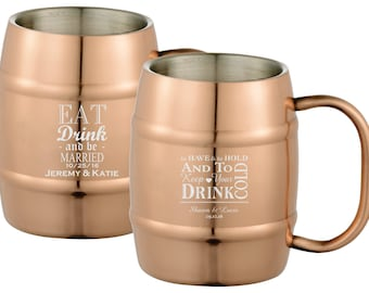 Wedding Beer Mugs Engraved 14oz Copper Barrel Mug - Personalized Wedding Beer Mug - Wedding Mug - Wedding Favor - Groomsman Gift
