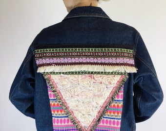 Boho Upcycled Denim Jacket | Denim Jacket | Bohemian | Embellishment | Blue Ridge | Dark Wash Denim | Handmade