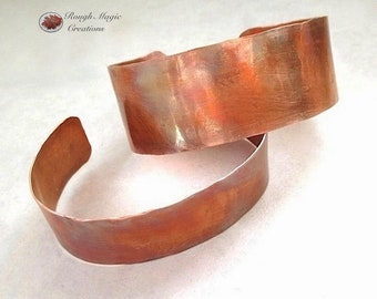 His & Hers Cuffs, Antique Patina Copper Bracelets, Jewelry for Couples, Rustic Hammered Metal Gifts for Woman and Man, Matched Pair 2 Cuffs