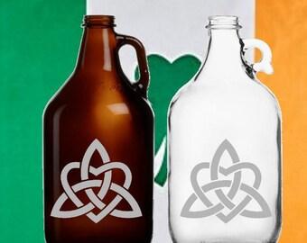 Celtic Heart Knot 64oz  Beer Growler Irish Art