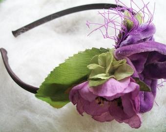 Lavender Rose Headband Feathers and Flowers Floral Hair Accessory Velvet Rose Millinery Flowers Handmade Vintage Wedding Shower Btidesmaid
