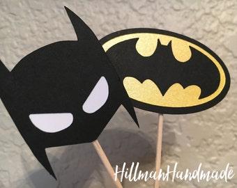 Batman Cupcake Toppers, Batman Treat Toppers, Justice League Cupcake Toppers, Batman Cupcakes
