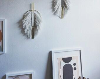 Vertical fringed wall hanging. Handmade. Geometric. Modern. Minimal. Natural.