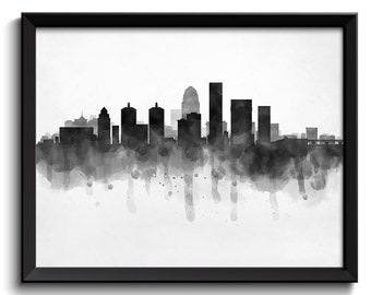 Louisville Skyline Kentucky USA United States Cityscape Art Print Poster Black White Grey Watercolor Painting