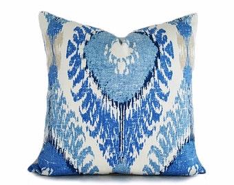 Blue Throw Pillow, Ikat Pillows, Ikat Throw Pillows, Ikat Pillow Covers, Blue Ikat Pillows, Blue Cream Pillow, Blue Cushions, 12x18, 18, 20