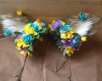 Furry Wolf Ear Headband with Spring Flowers