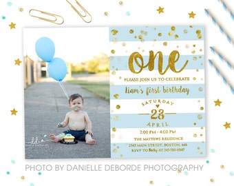 First birthday invitation boy 1st birthday invite blue ombre 1st birthday invitation boy first birthday invitation boy one blue gold filmwisefo