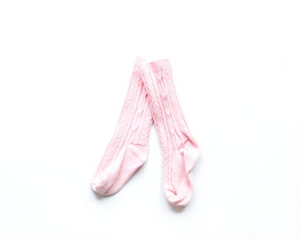 Blush Pink Knee High Socks. Hand Dyed Cotton Socks. Cable Knit Knee High Socks for Babies, Toddler and Girls