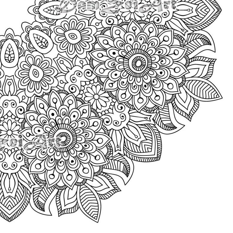 Flower mandala coloring page printable pdf blank mandala Mandala coloring book for adults pdf